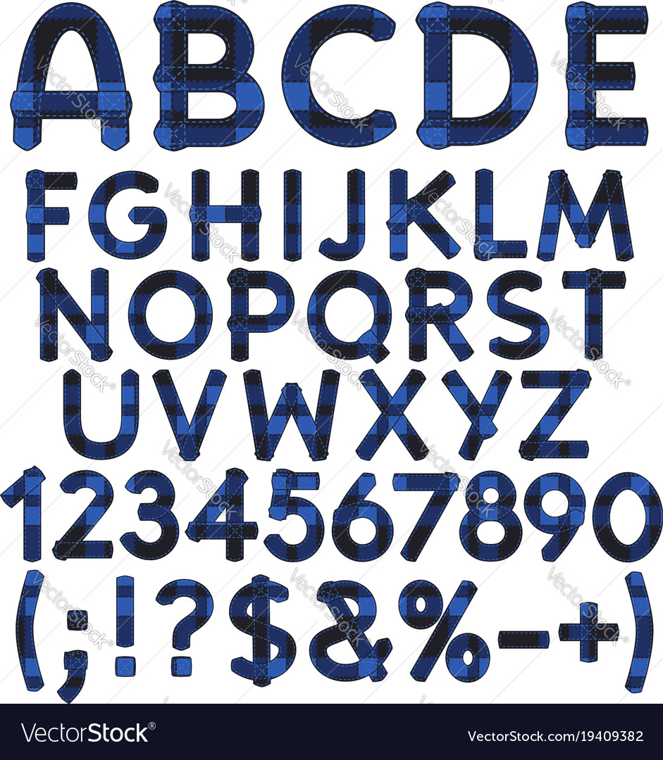 Alphabet letters from blue cloth tartan vector image