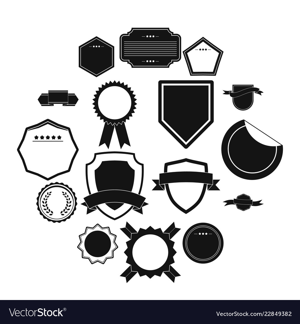 Badges icons set simple style