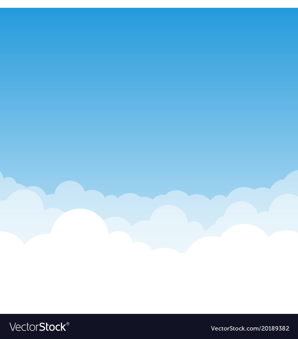 Blue gradient sky and clouds vector image