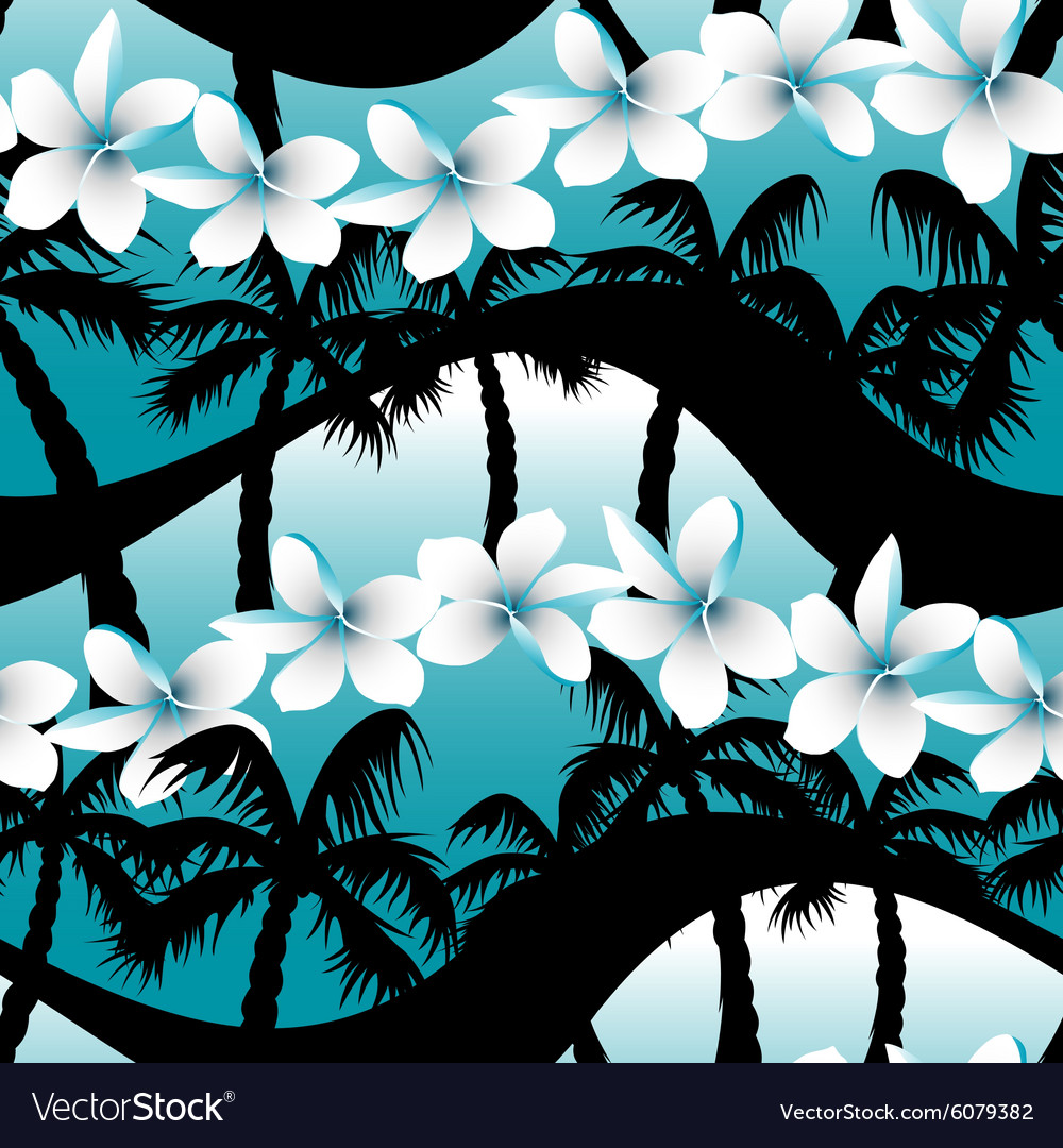 Blue tropical frangipani flowers with palm tree