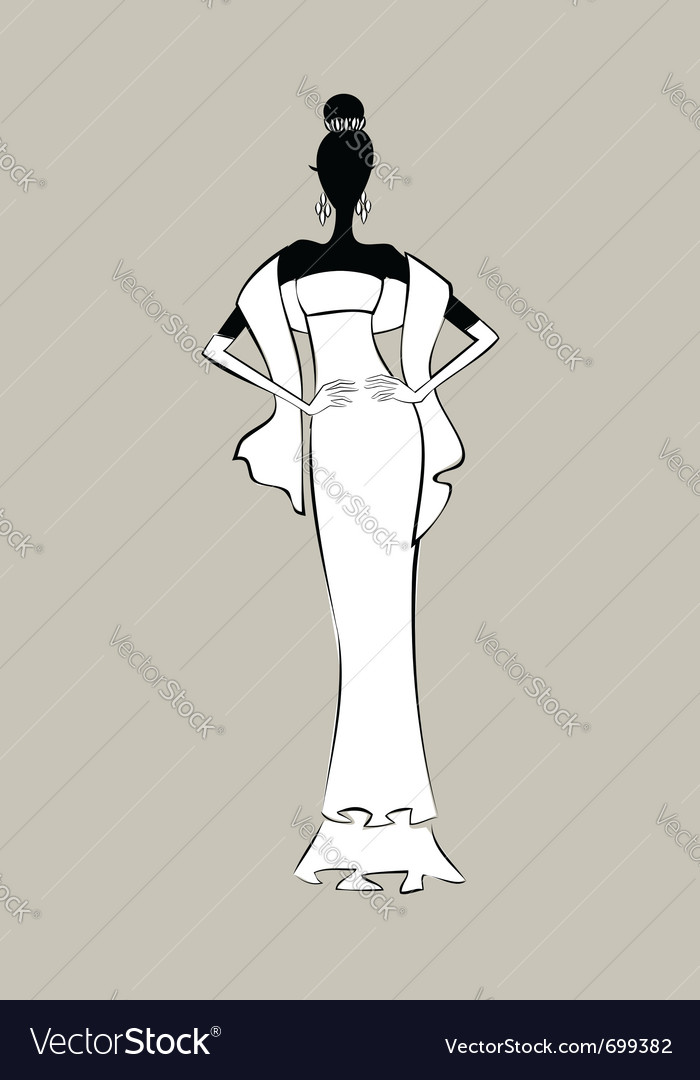 Bride Fashion Sketch Royalty Free Vector Image