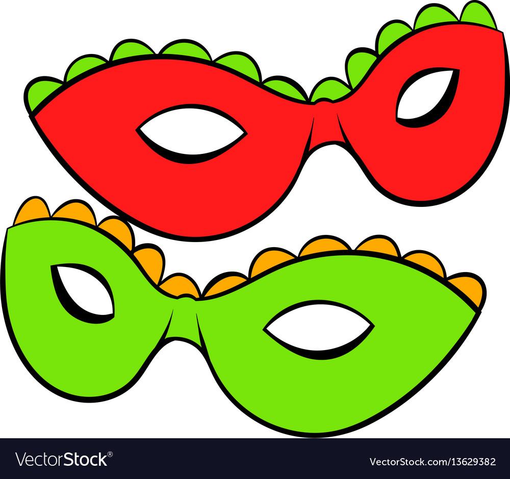 Carnival masks icon cartoon