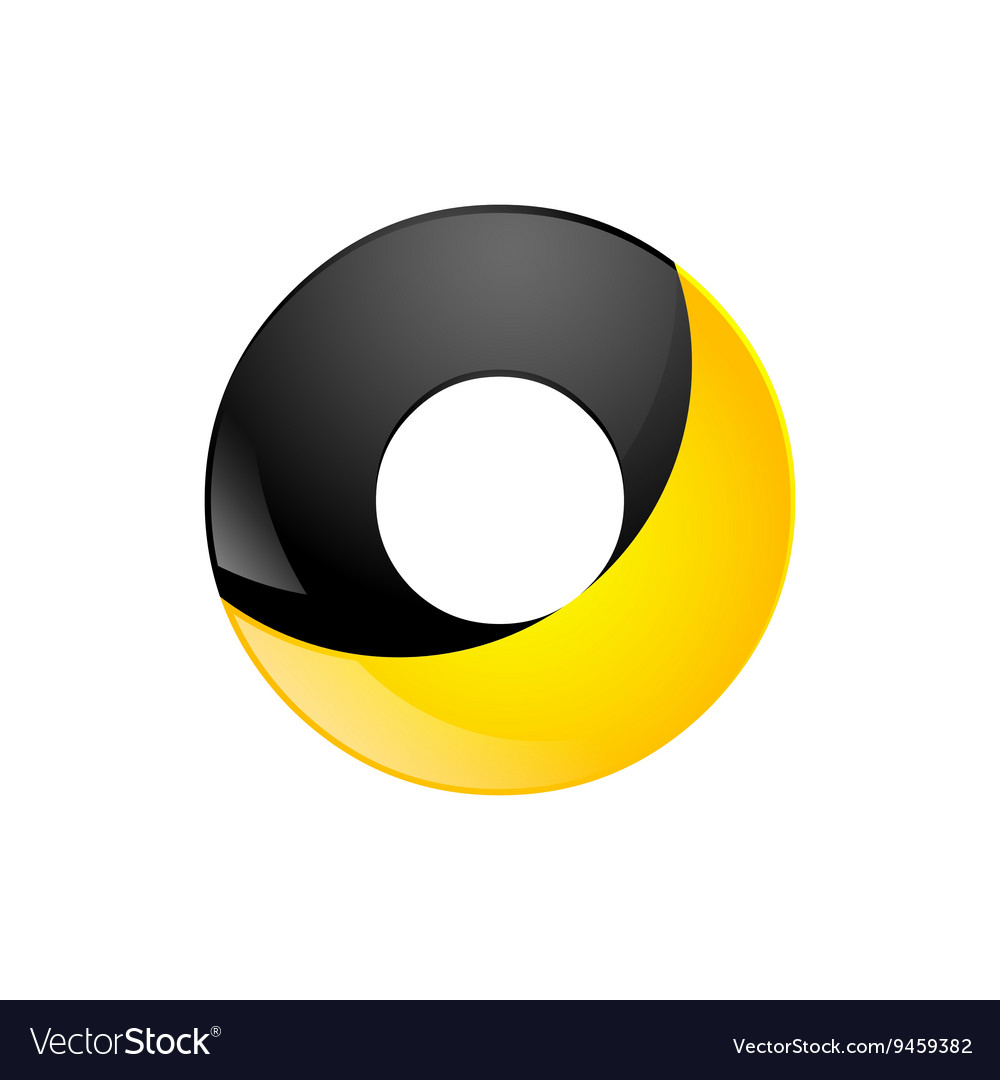 Creative yellow and black symbol letter o for your
