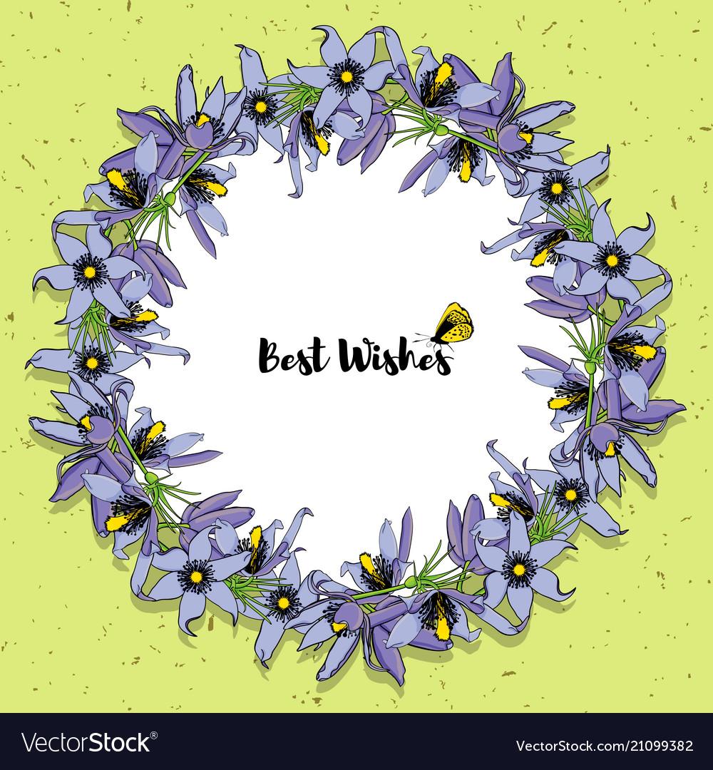 Hand drawn vintage floral round frame vector image