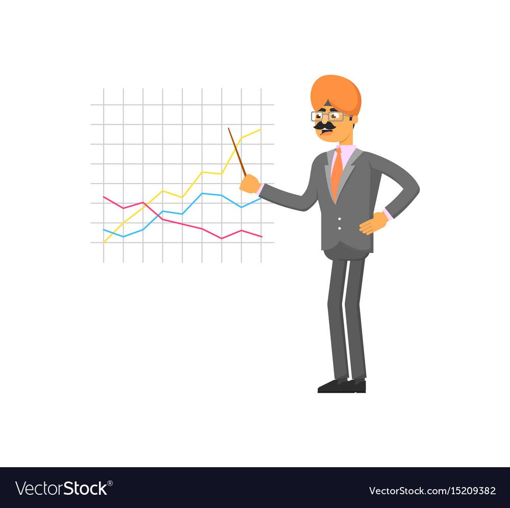 Indian businessman making chart presentation vector image