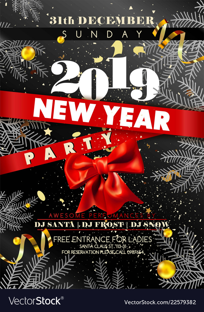 new year party invitation poster with date and day vector image