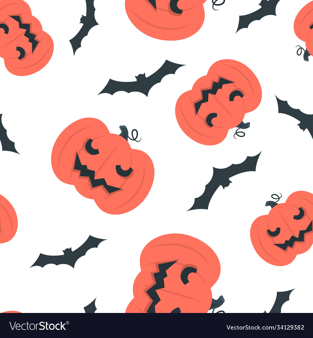 Seamless pattern design with bats and halloween