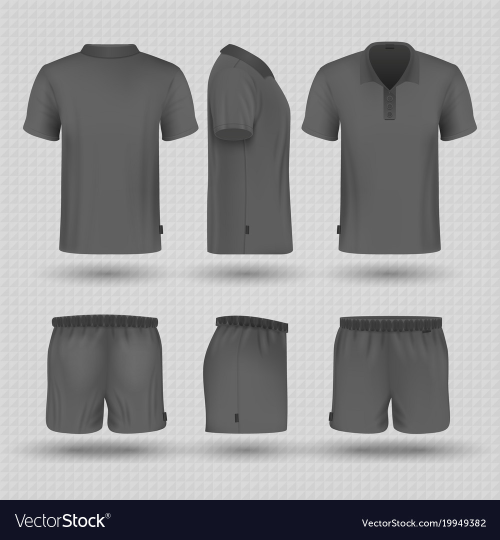 Soccer black sports uniform male shorts and t