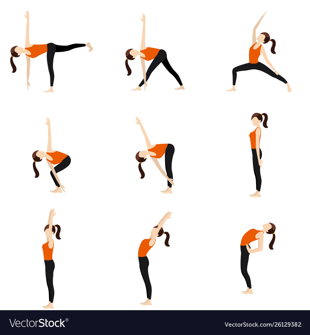 Standing Yoga Poses Set Ii Royalty Free Vector Image