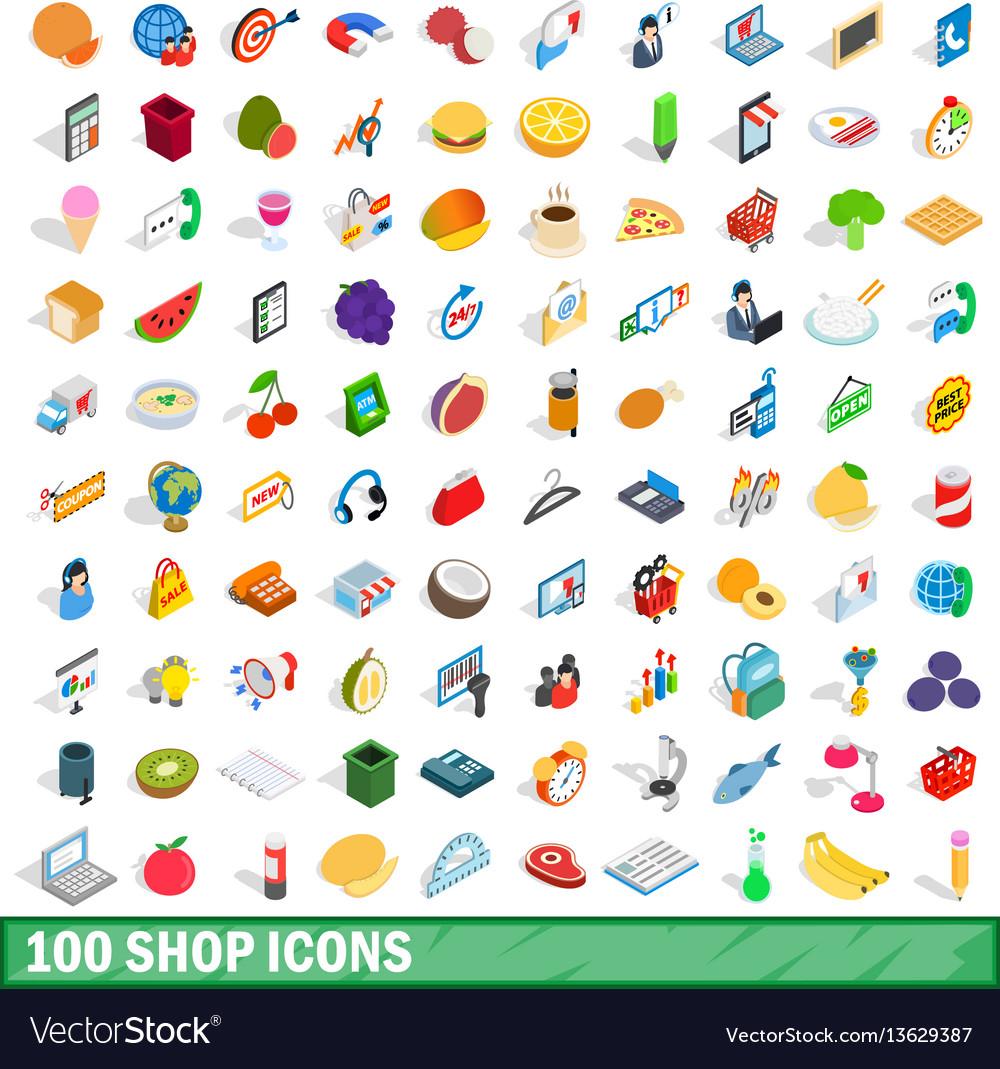 100 shop icons set isometric 3d style