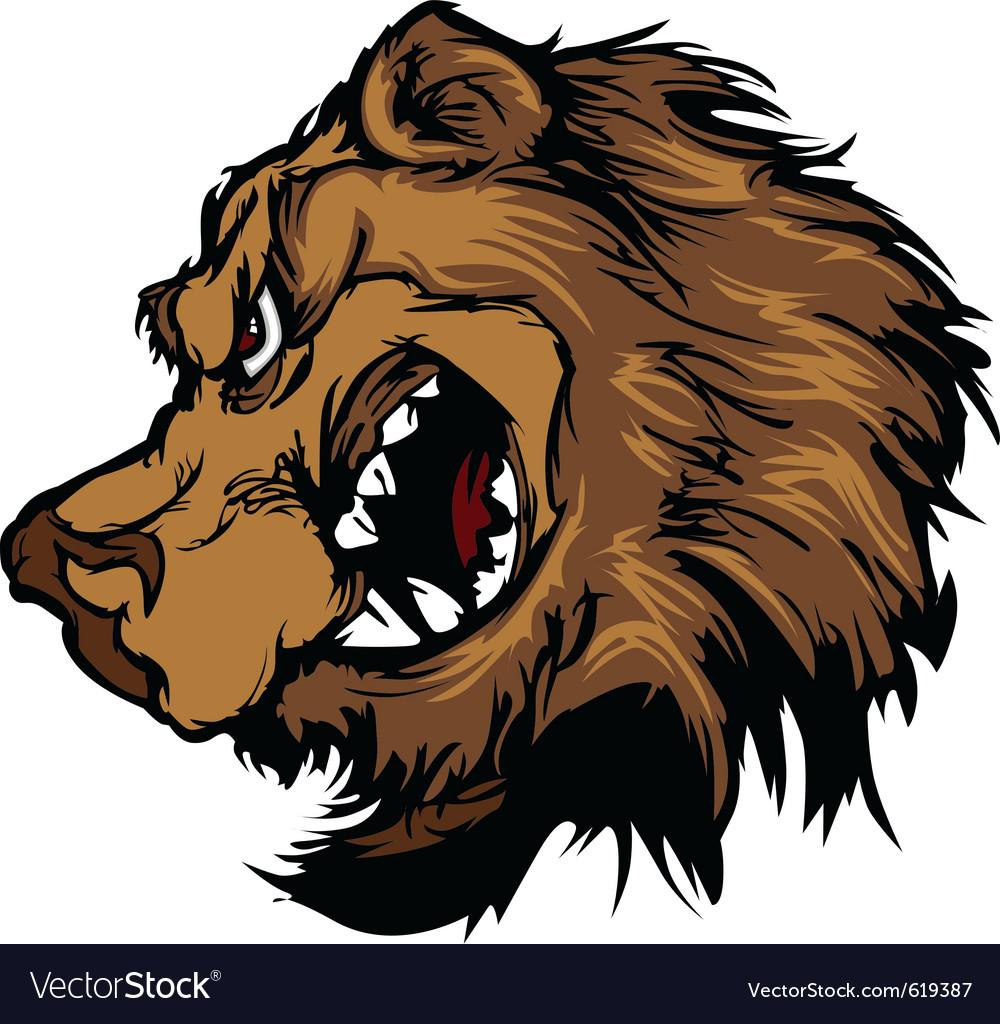 bear grizzly mascot head cartoon royalty free vector image