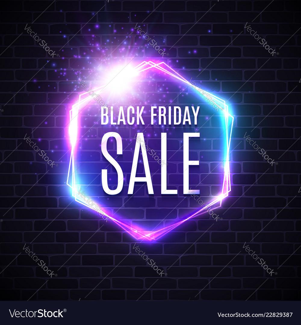 Black friday sale design with neon light frame