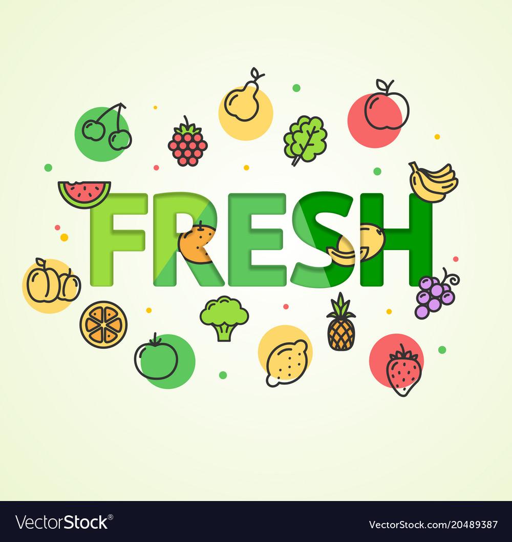 Cartoon fresh vegetable and fruit concept card