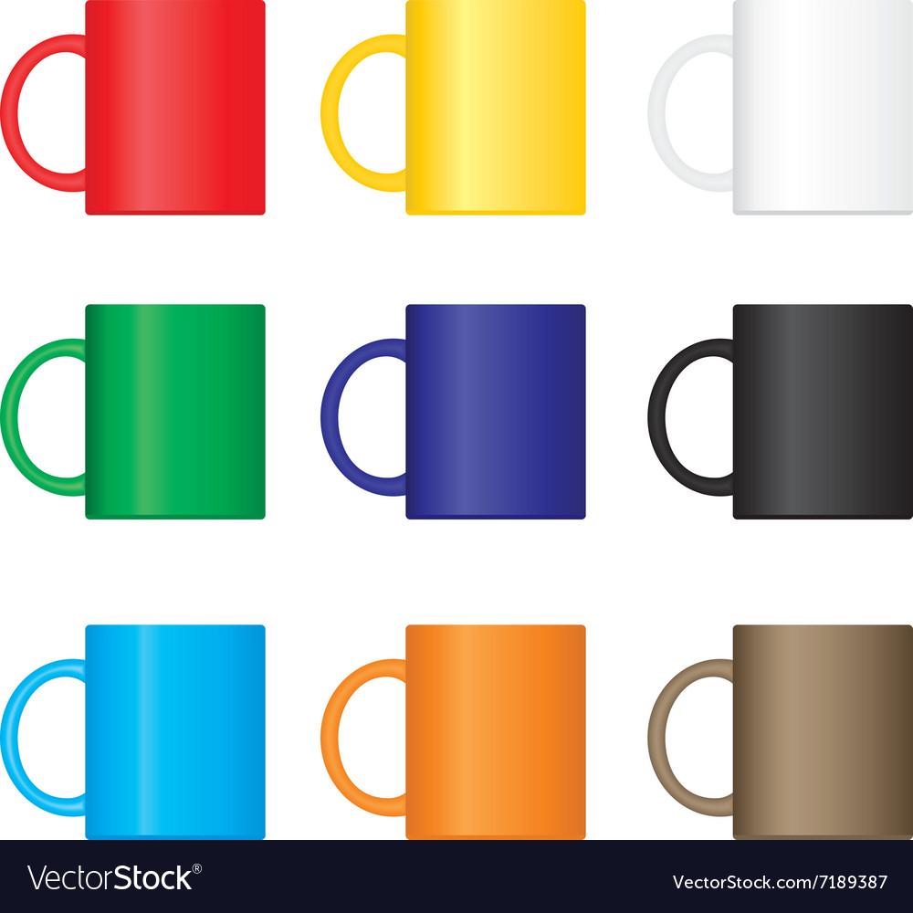 Colorful Mugs Set Royalty Free Vector Image Vectorstock