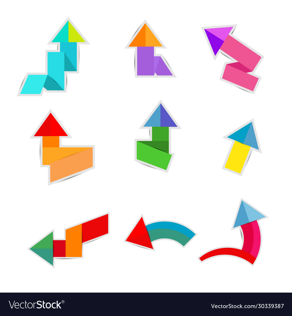 Colorful paper arrow on white background