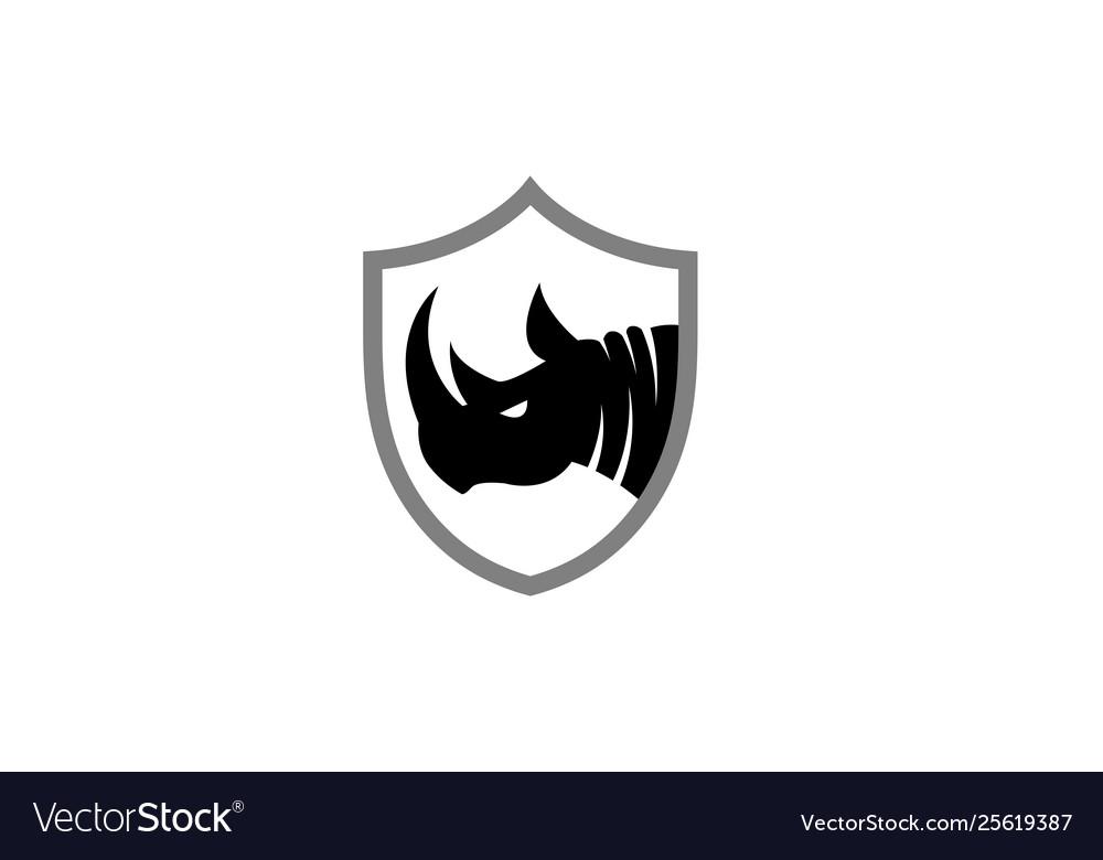 Creative black rhinoceros logo design symbol