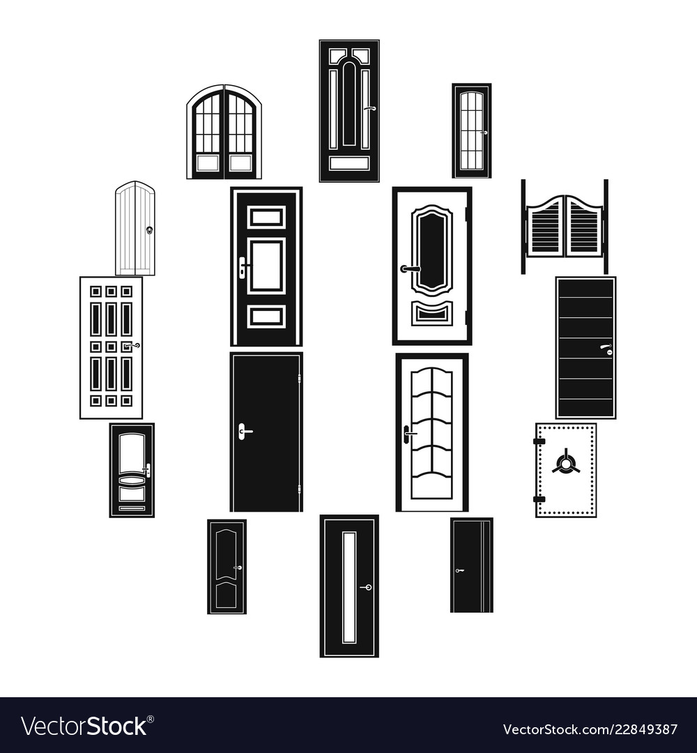 Doors icons set simple style