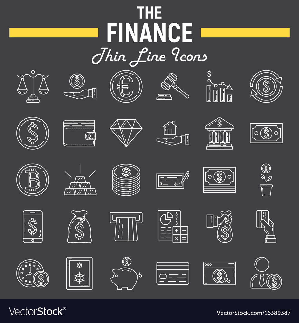 Finance line icon set business symbols collection