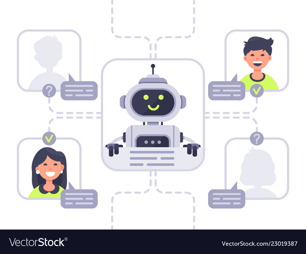 Human communicates with chatbot virtual assistant