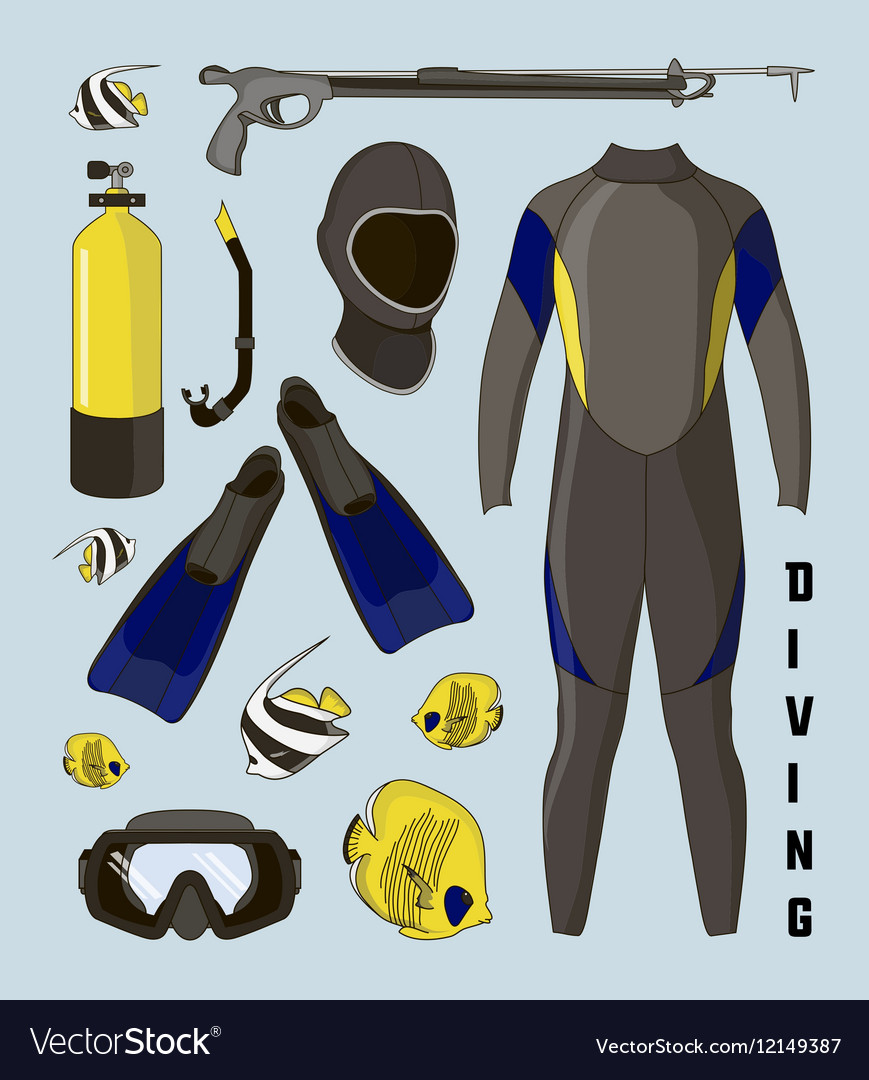 Icons set of diving equipment