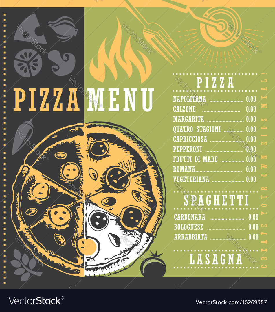 pizza menu document print template with pizza draw