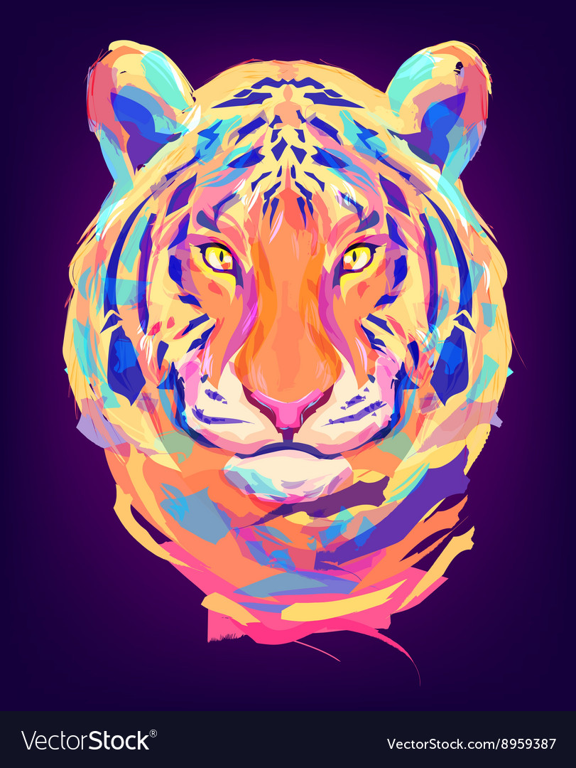The cute colored tiger head