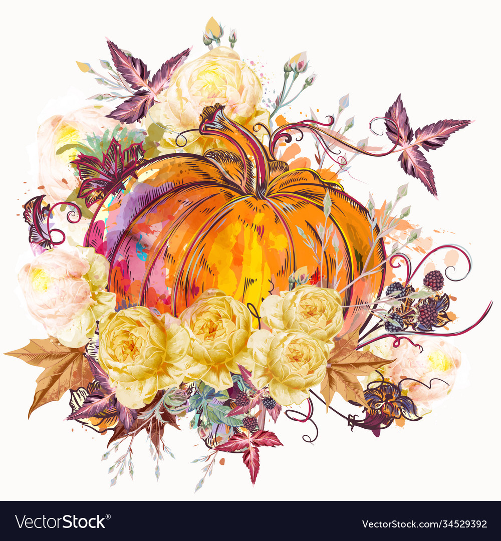 Autumn pumpkin with flowers