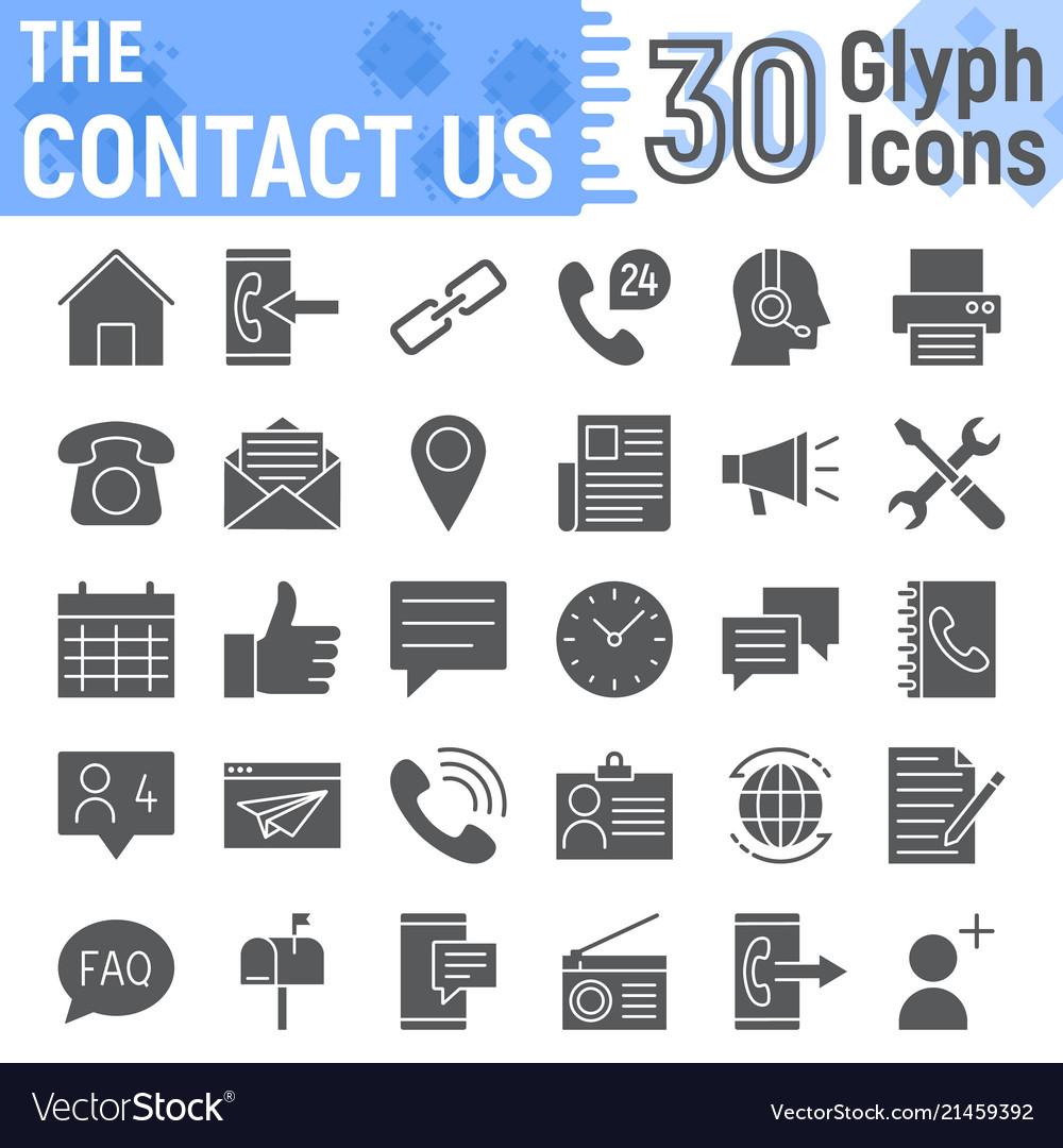 Contact Us Glyph Icon Set Web Symbols Collection Vector Image