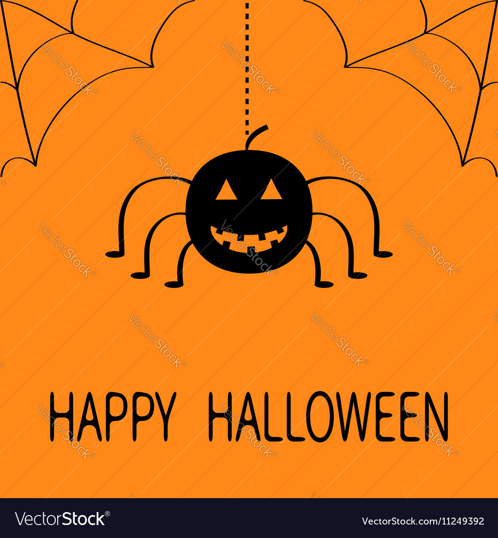 Cute cartoon black smiling pumpkin Hanging spider