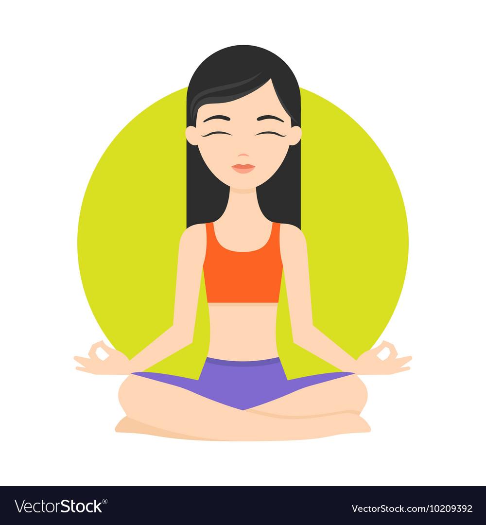 Girl Practicing Yoga Exercises Healthy Lifestyle Vector Image