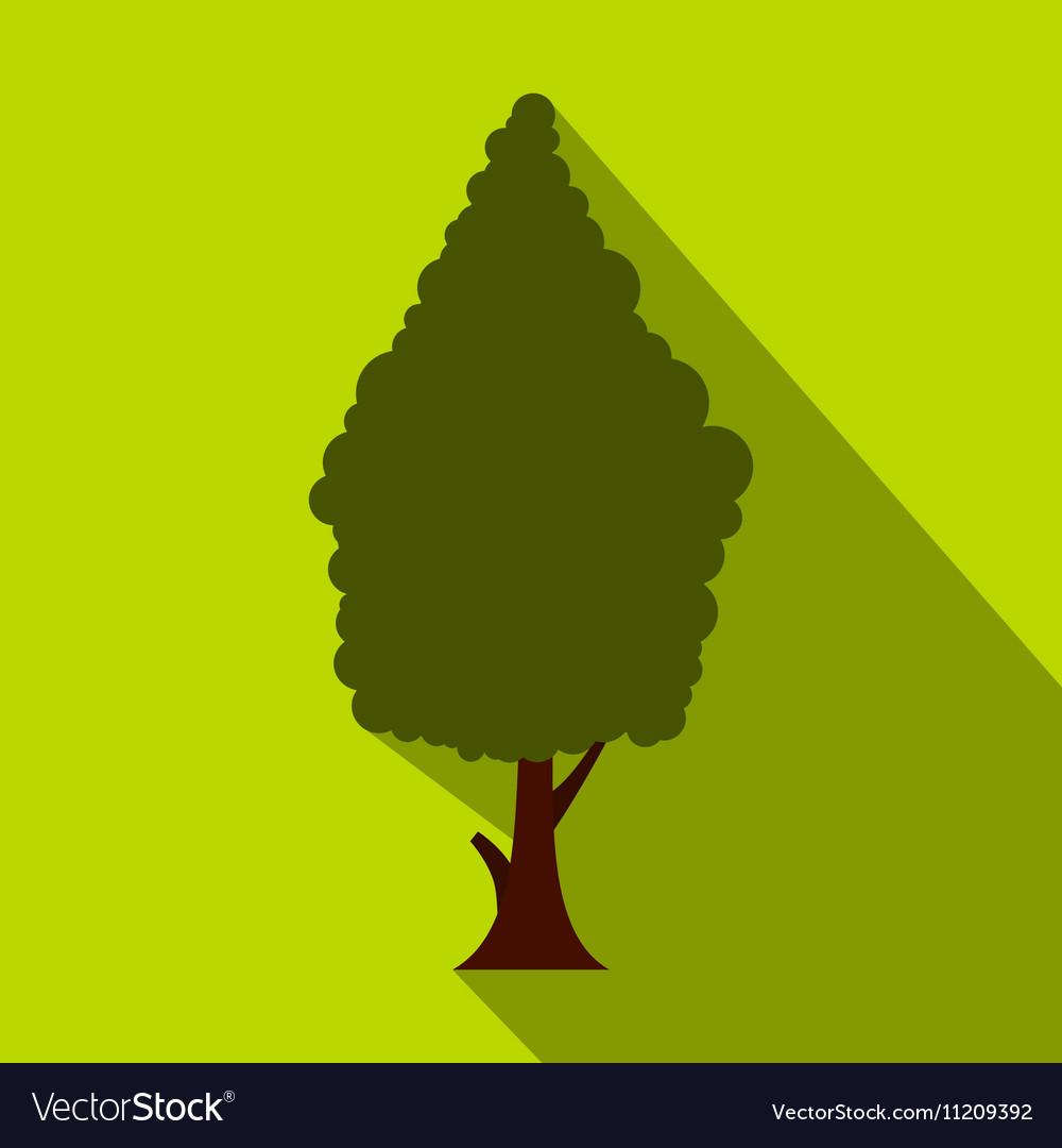 Green cypress icon flat style