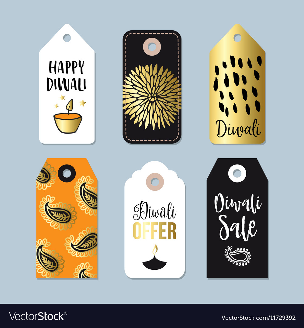 Happy Diwali special offer sale labels tags vector image