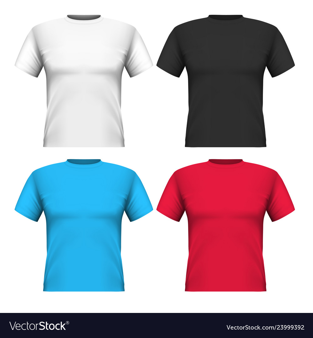 Realistic set cotton t-shirts isolated on white