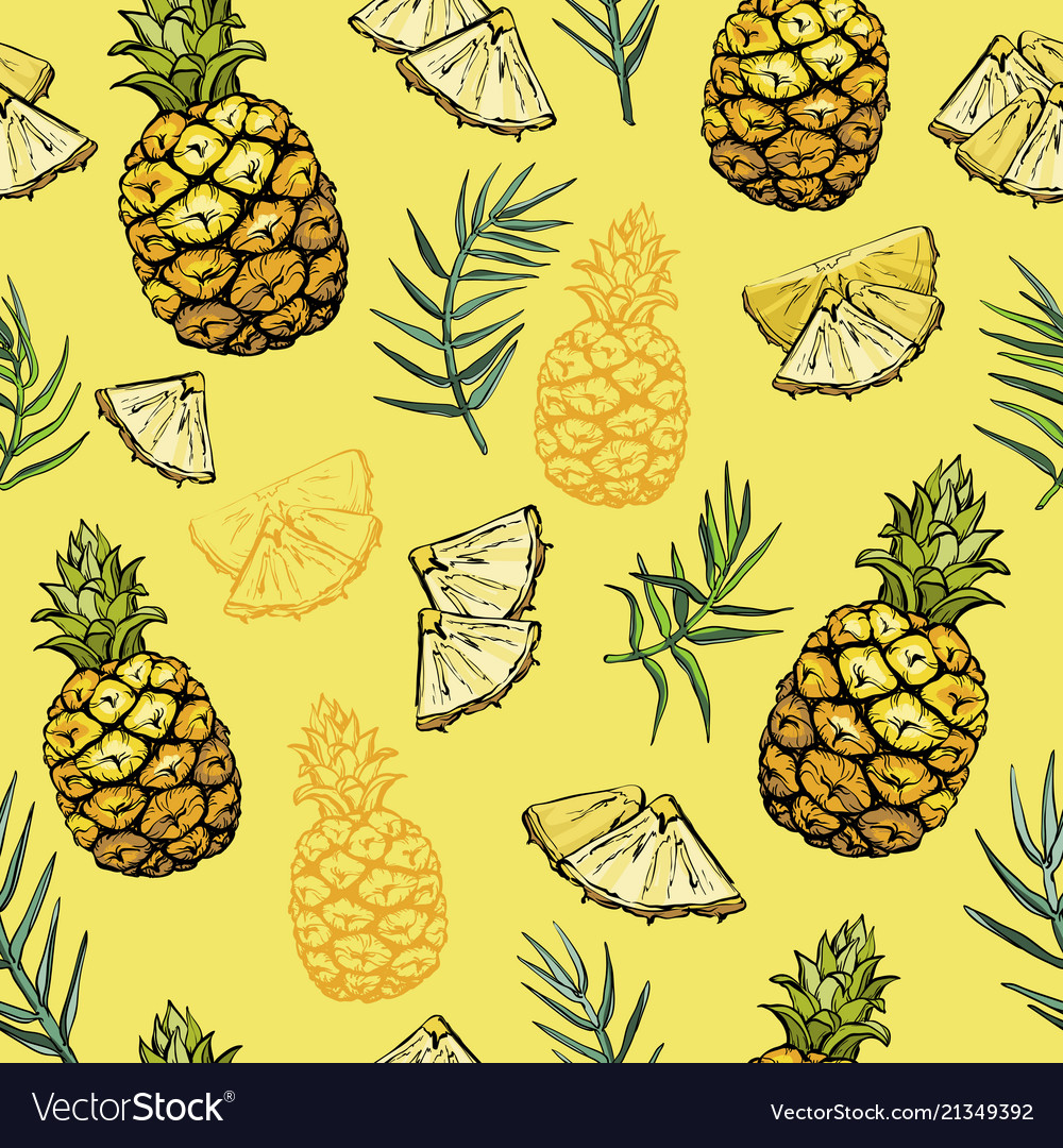 Seamless pattern with pineapples and palm leaves