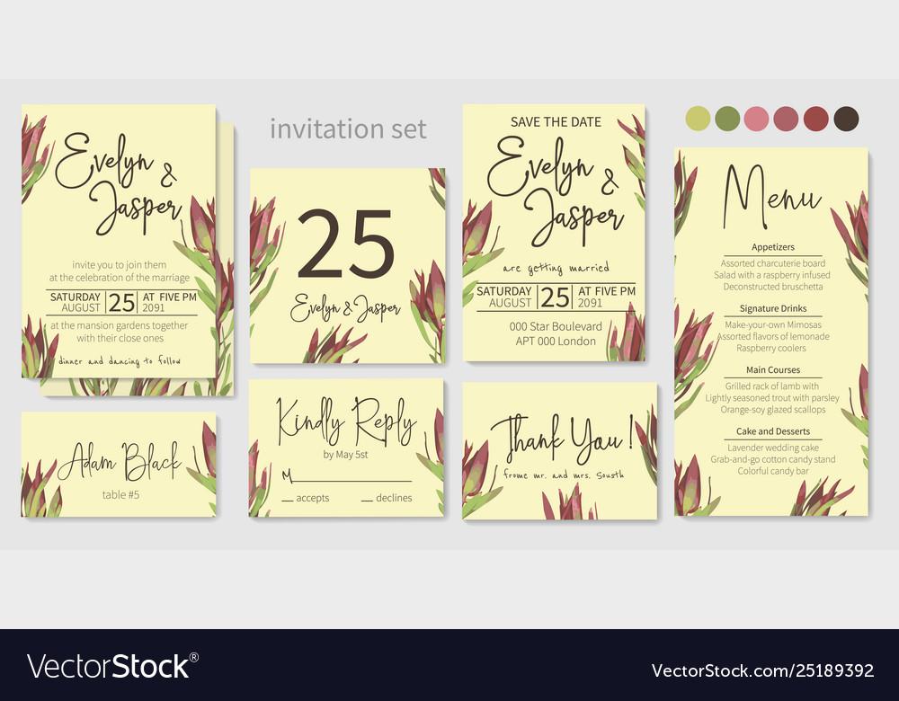 Set wedding invitation greeting card save