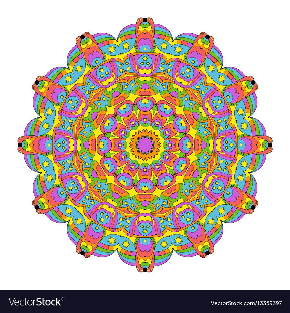 Abstract Round Mandala Coloring Book Colored Vector Image