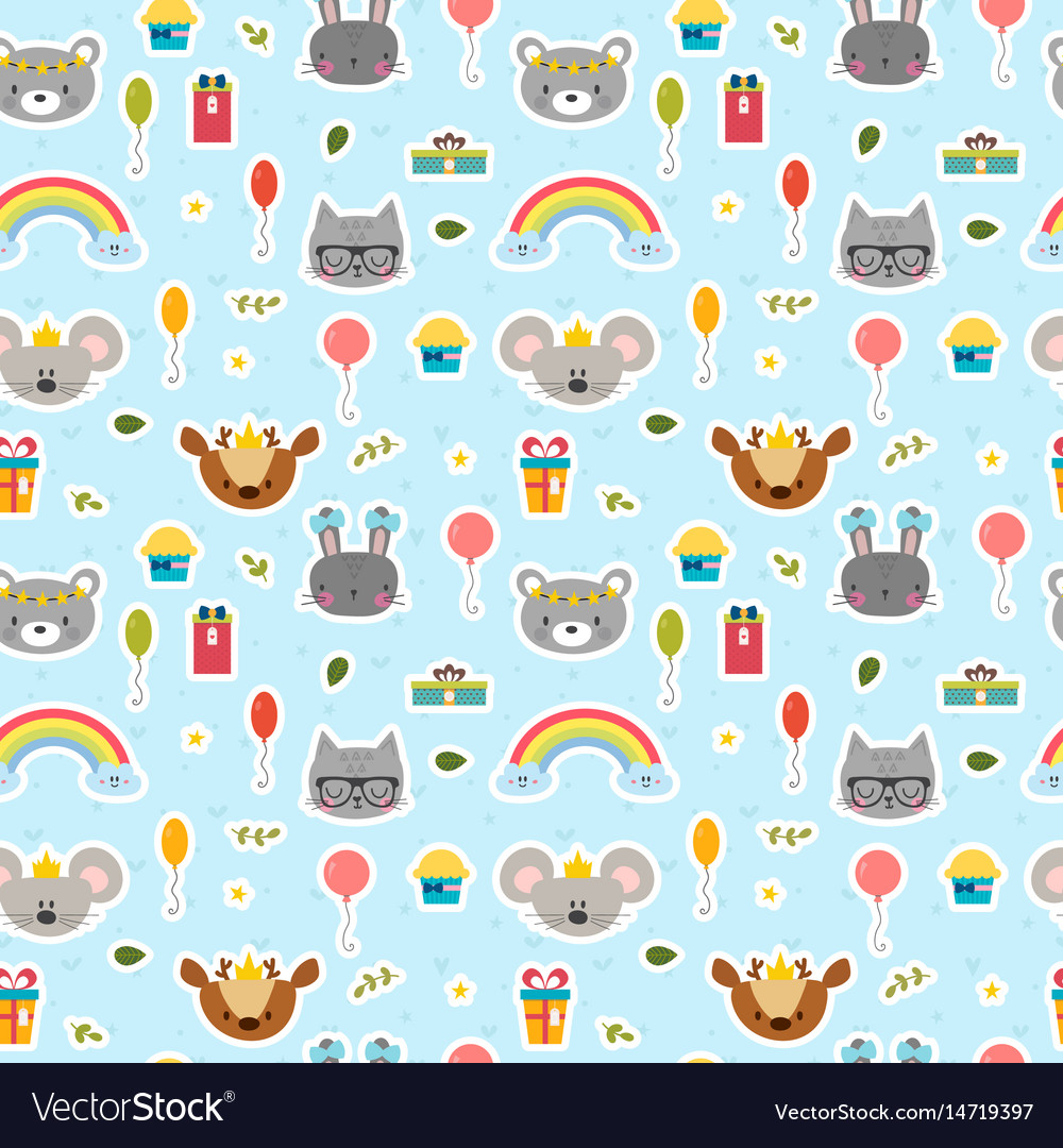Cute seamless pattern with cartoon animals happy