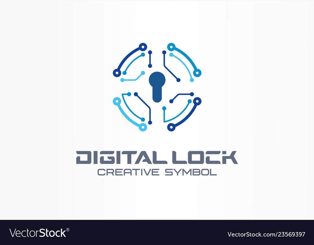 Digital lock creative symbol concept circuit