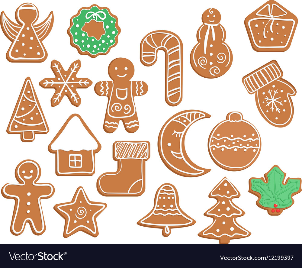 Gingerbread Cookies On White Background Snowflake