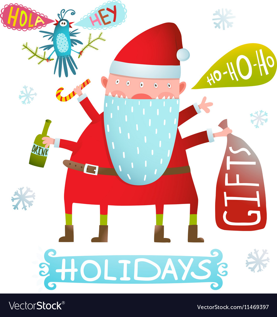 Happy Christmas or New Year Holidays Monster Santa