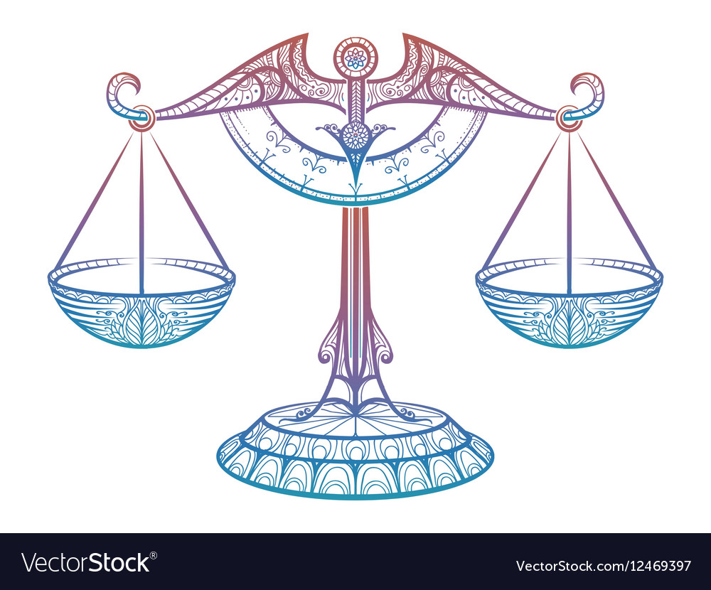 Justice scales Zodiac Libra zentangle sign