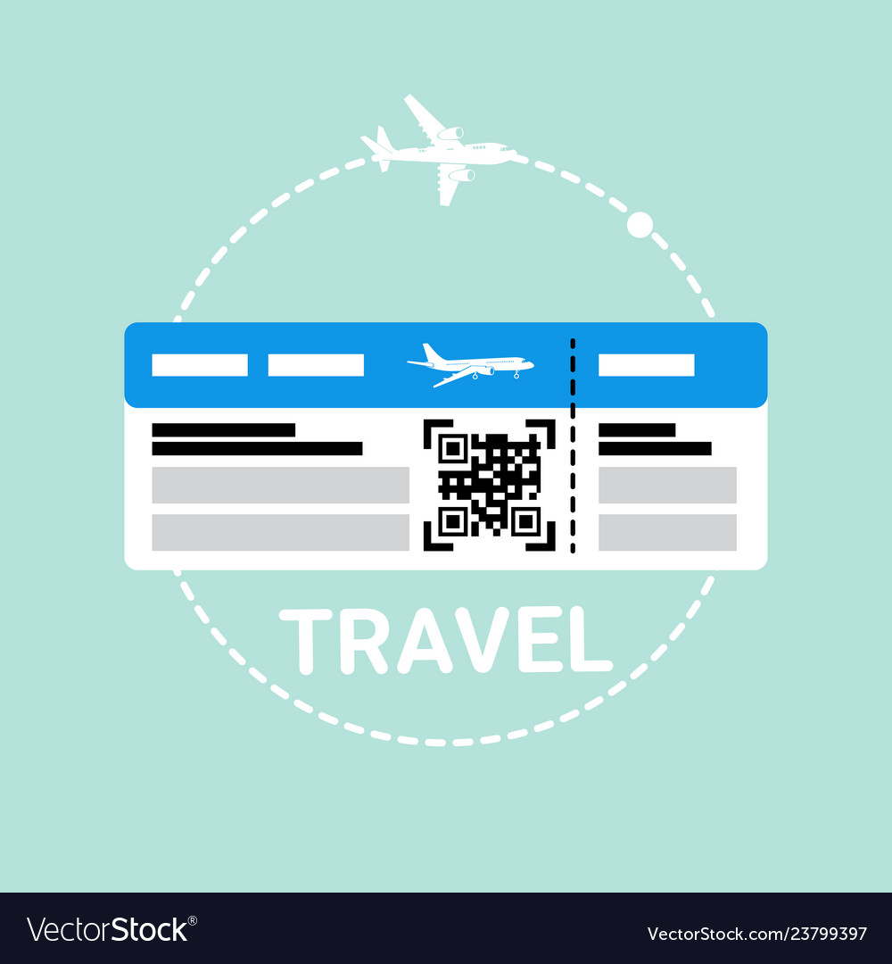 Ticket on plane icon travel boarding document