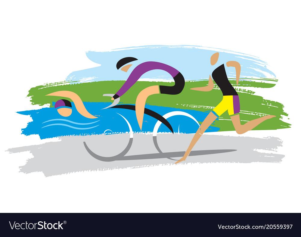 Triathlon racersthree discipline of the triathlon