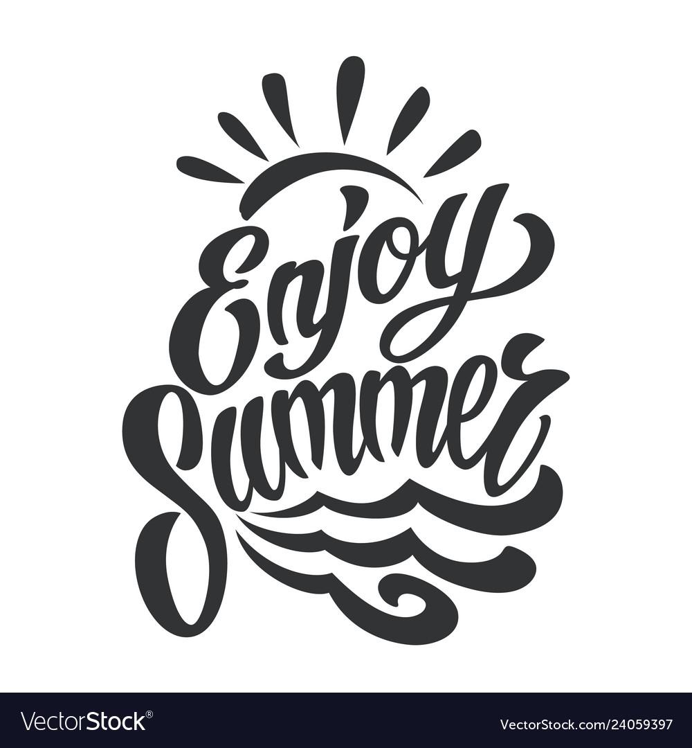 Vintage enjoy summer lettering template