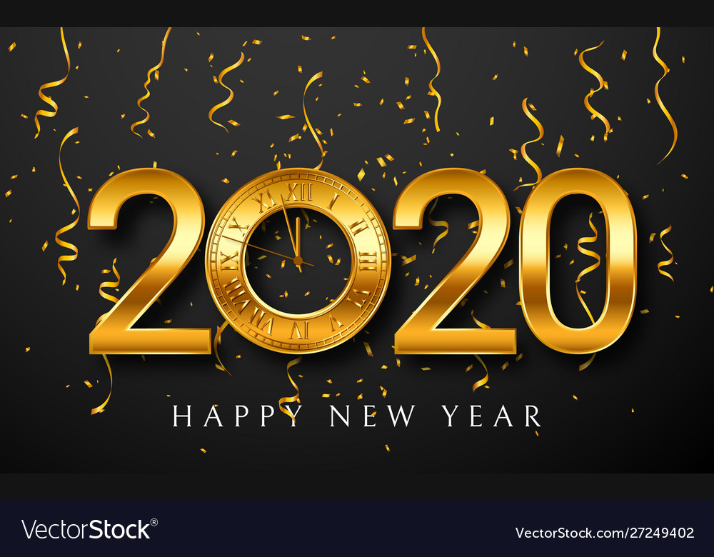 2020 new year greeting card with golden clock on