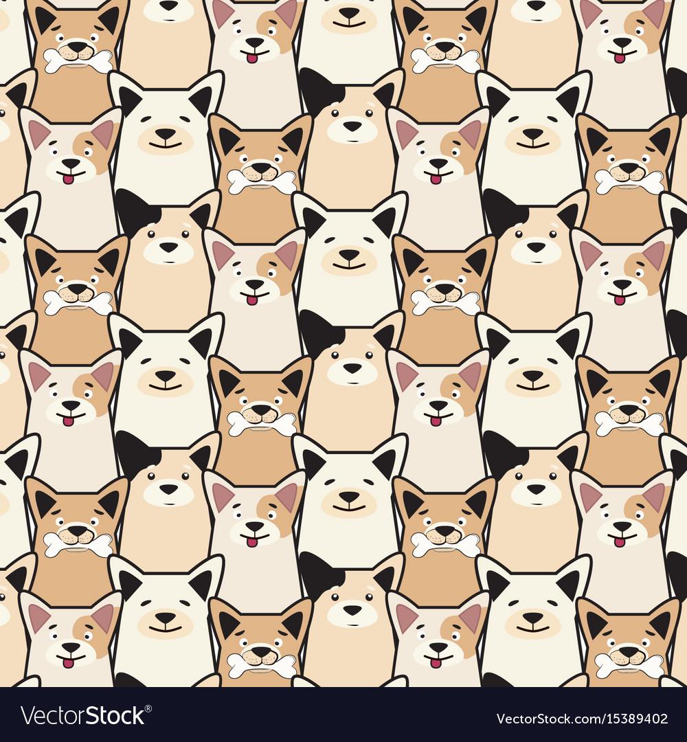 Animal seamless dog pattern pug cartoon