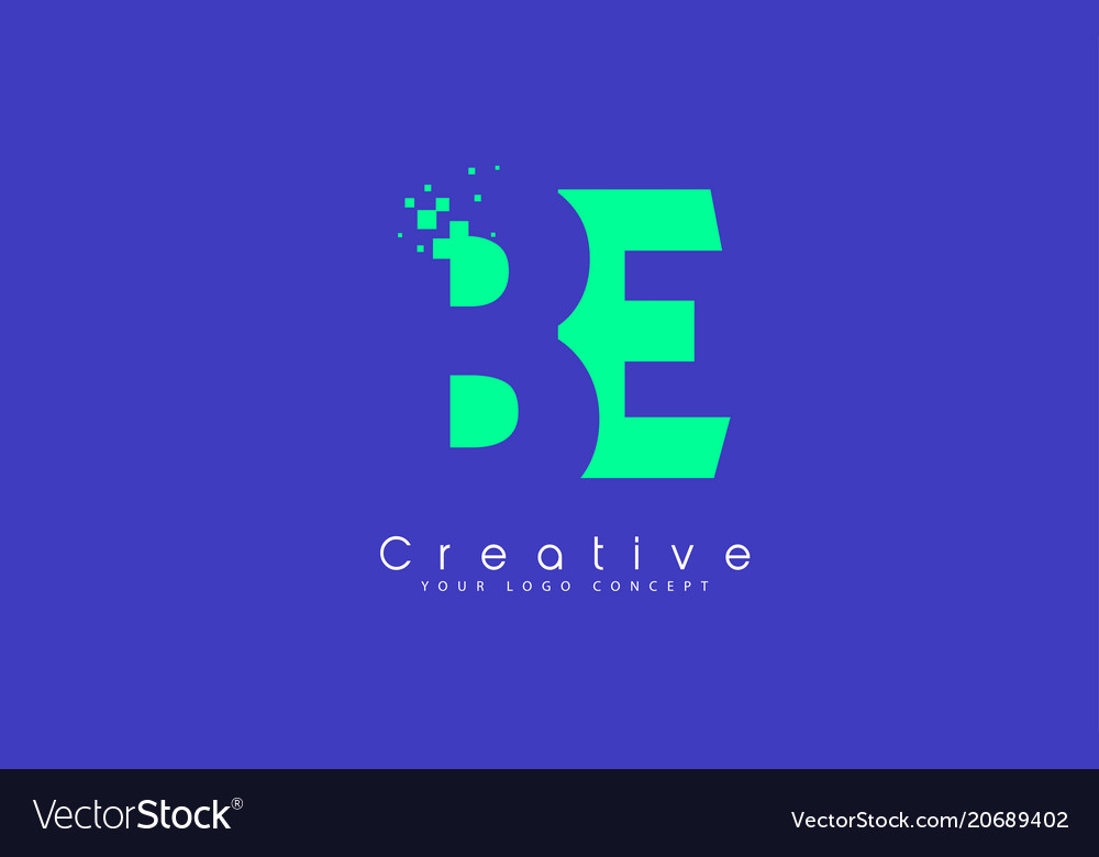 Be letter logo design with negative space concept