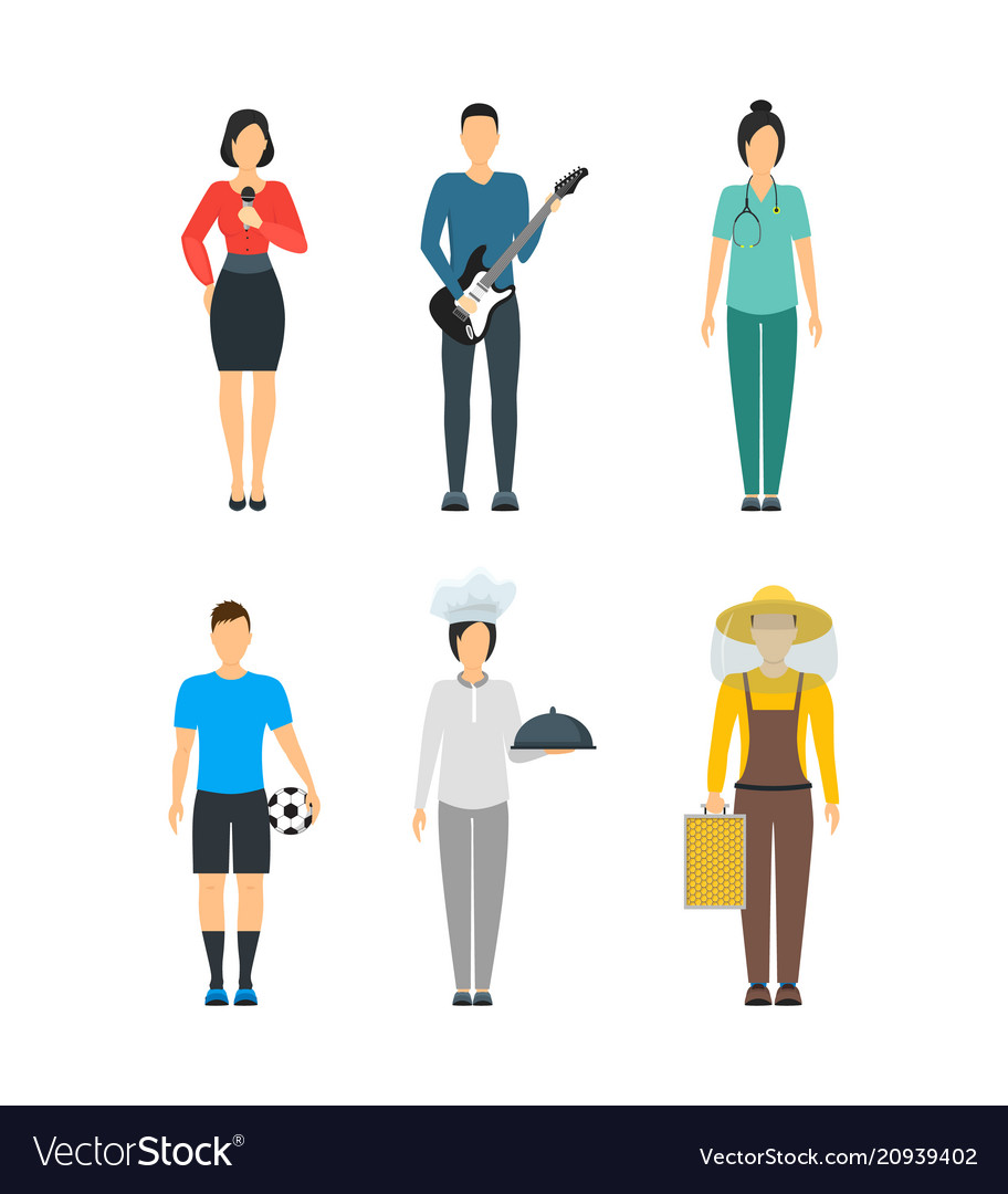 Cartoon professional people characters icon set
