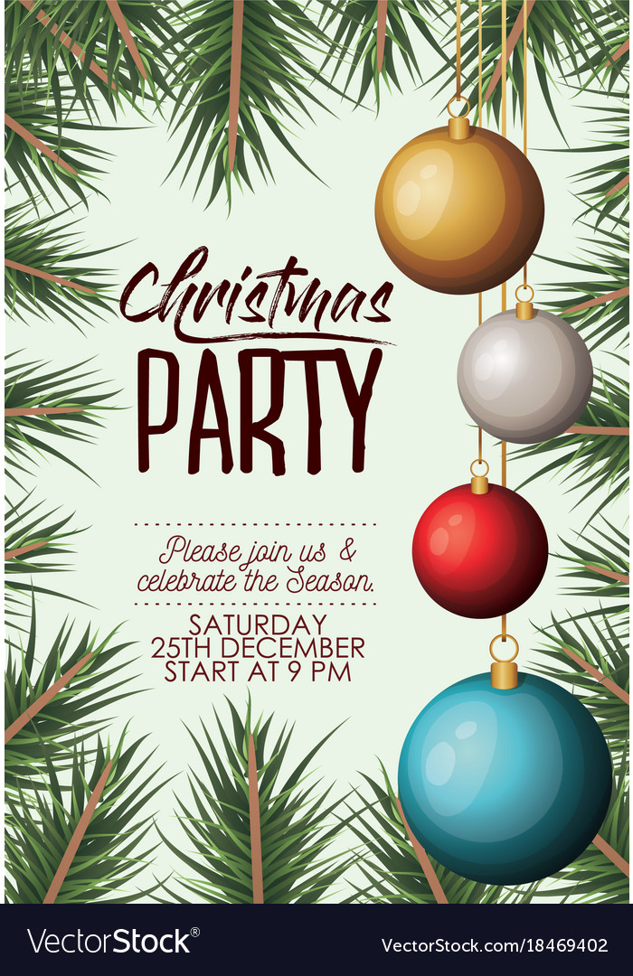Christmas party card with colorful garlands and