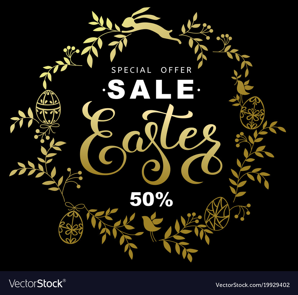Easter sale banner with wreath golden leaves and